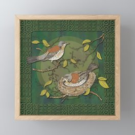 Celtic Fieldfares Framed Mini Art Print