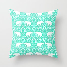 Elephant Damask Mint Throw Pillow