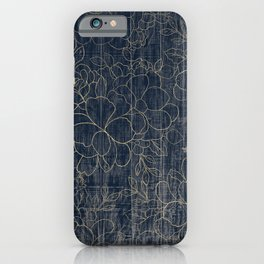 Rustic blue white wood gold floral iPhone Case