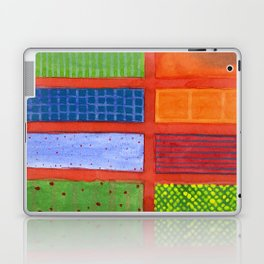 Large rectangle Fields between red Grid Laptop & iPad Skin