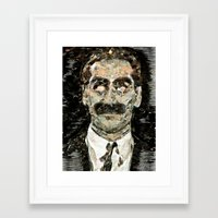 marx Framed Art Prints featuring Groucho Marx by Miguel A. Martin