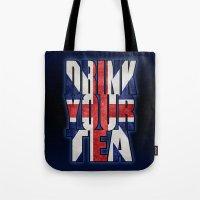 british flag Tote Bags featuring Tea / British by tshirtsz