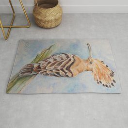 Hoopoe Bird Wildlife watercolor painting Pastel colors decor nature painting Rug