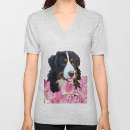 Bernese Mountain Dog between Lotus Flowers #dog #society6 Unisex V-Neck