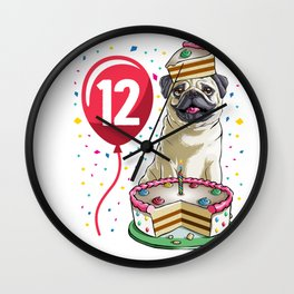 Pug Birthday Cake Balloon 12 Wall Clock