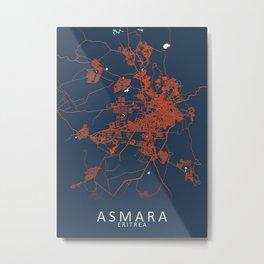 Asmara Eritrea City Map Metal Print