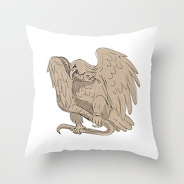 Serpent in Clutches of Eagle Drawing Throw Pillow