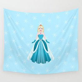 Snow Princess In Blue Dress Front Wall Tapestry