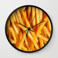 fries Wall Clocks featuring Fries by Maioriz Home