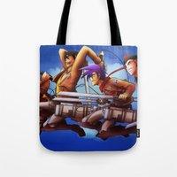 cartoons Tote Bags featuring Shingeki no Cartoons by Witchy