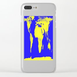 World Map Blue & Yellow Clear iPhone Case