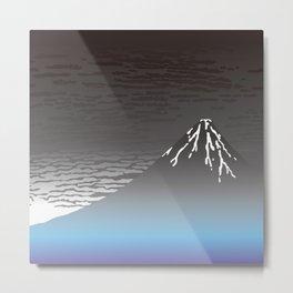 Hokusai Fuji in the Rainy Sky Metal Print