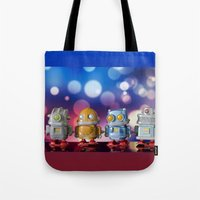 robots Tote Bags featuring Robots by Pedro Nogueira