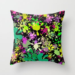 Green and Pink Paint Splats Throw Pillow