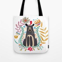 Folk Art Brown Bear Tote Bag