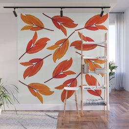 Falling Leaves Watercolor Pattern Wall Mural