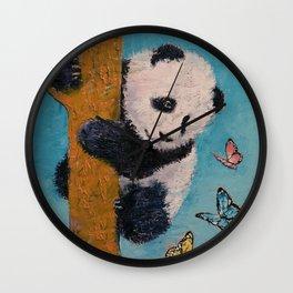 Panda Butterflies Wall Clock