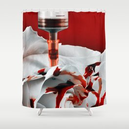 Paining a Rose Red Shower Curtain