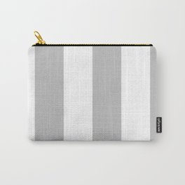 Wide Vertical Stripes - White and Silver Gray Carry-All Pouch
