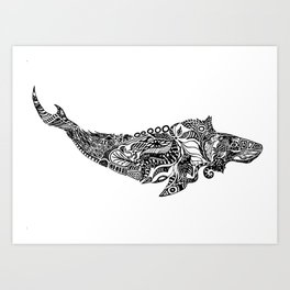 Whale drawing by Floris V Art Print