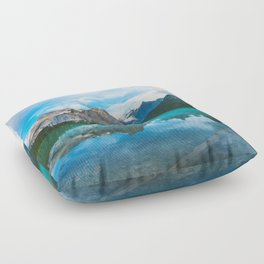 The Mountains and Blue Water - Nature Photography Floor Pillow