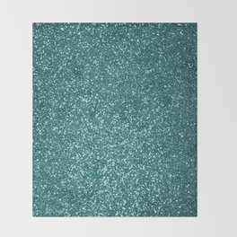 Sparkly Aqua Blue Turquoise Glitter Throw Blanket