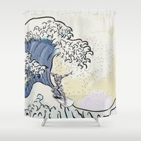 popeye Shower Curtains featuring Great Wave - Silver Surfer by Raisya