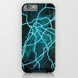 Gloucester, England, Blue, White, Neon, Glow, City, Map iPhone Case