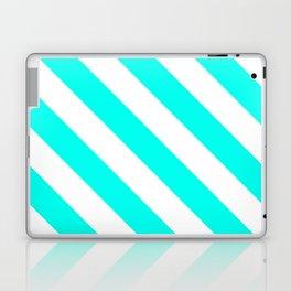 Diagonal Stripes Pattern: Turquoise Laptop & iPad Skin