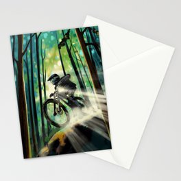 Forest jump mountain biker Stationery Cards