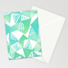 Geo Triangle Sea Green Stationery Cards