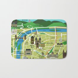 Prague map illustrated Bath Mat
