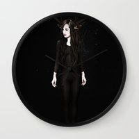 abigail larson Wall Clocks featuring Abigail Night by Ruben Ireland