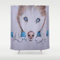 husky Shower Curtains featuring Husky Siberian by Larisart