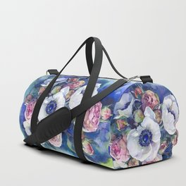 Watercolor anemone roses flowers Duffle Bag