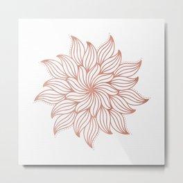 Mandala Floral Rose Gold on White Metal Print