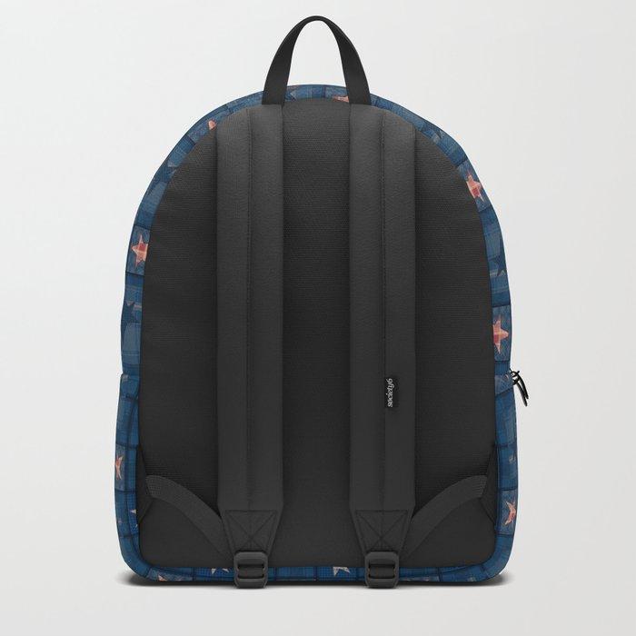 Blue denim patchwork . Backpack