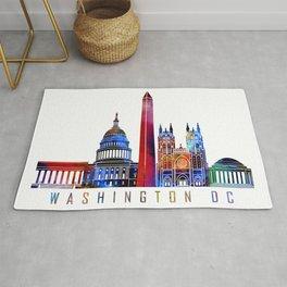 Washington DC skyline landmarks in watercolor Rug