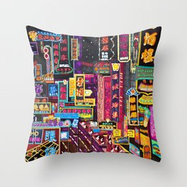 HK Neon Lights Throw Pillow
