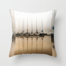 Boats moored in fog Throw Pillow