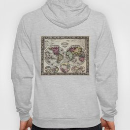 Vintage Map of The World (1864) - Stylized Hoody