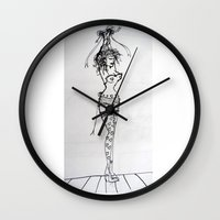 burlesque Wall Clocks featuring Burlesque by Frances Roughton