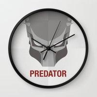 predator Wall Clocks featuring PREDATOR by Alejandro de Antonio Fernández