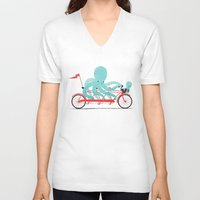 bike V-neck T-shirts featuring My Red Bike by Jay Fleck