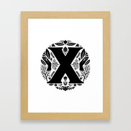 Letter X monogram wildwood Framed Art Print