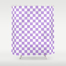 Small Checkered - White and Light Violet Shower Curtain