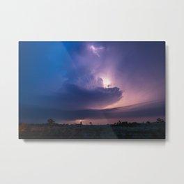 Lighthouse - Lightning Reveals Towering Storm Cloud After Dark in Oklahoma Metal Print