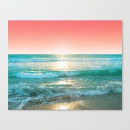Aqua and Coral, 1 Canvas Print