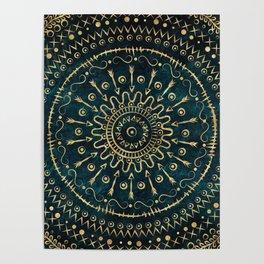 Geometric tribal gold mandala Poster