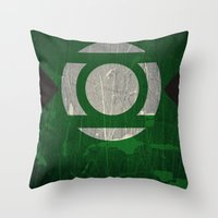 green lantern Throw Pillows featuring Green Lantern by Fries Frame